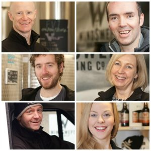 Portrait headshots of staff at windswept brewery