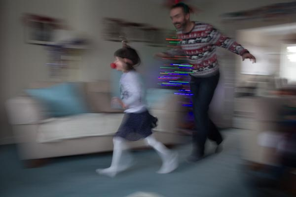 running child with dad