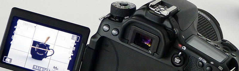 Camera header close up corporate stock photography