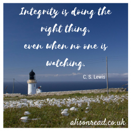 Lighthouse meme by Alison Read denoting integrity